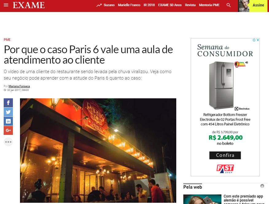 Revista Exame: Porque o Caso do Restaurante Paris onde uma cliente foi carregada pela chuva, virou aula de atendimento ao cliente